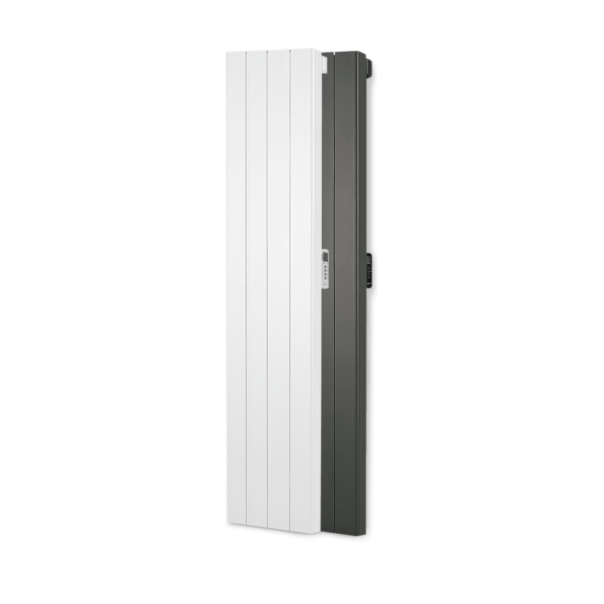 Rointe Palaos tall vertical radiators in white and black with 4 heating elements