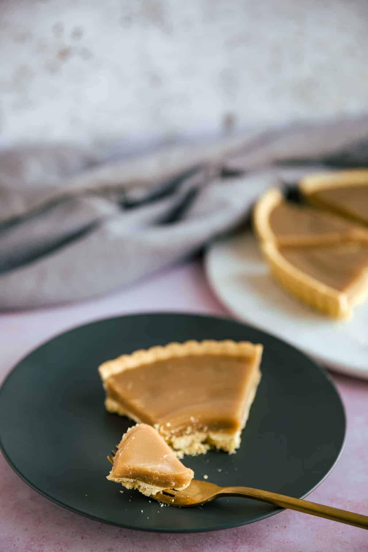 A shortcrust pastry tart with a caramel butterscotch filling.