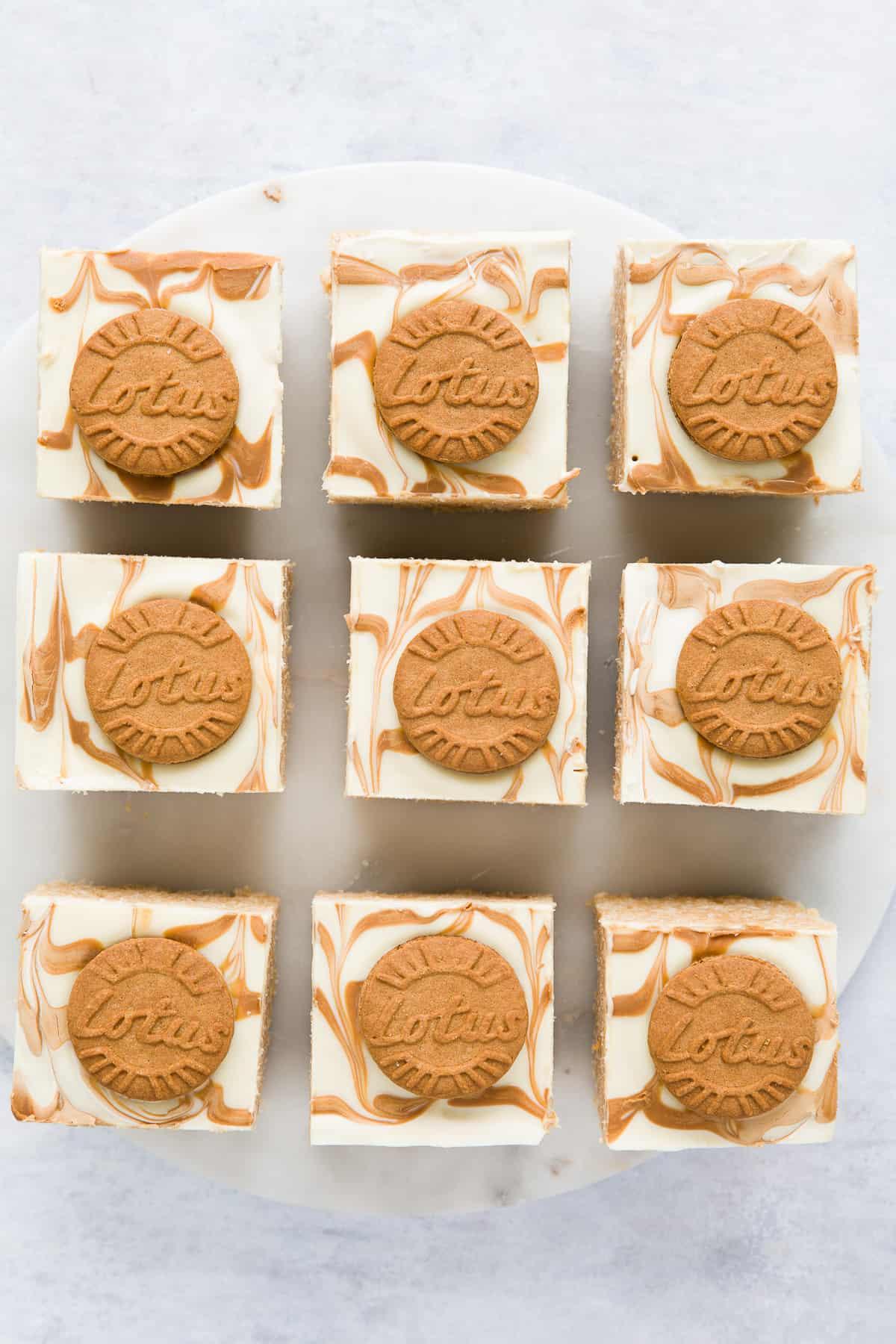 9 squares of Lotus Biscoff Rice Krispie Treats.
