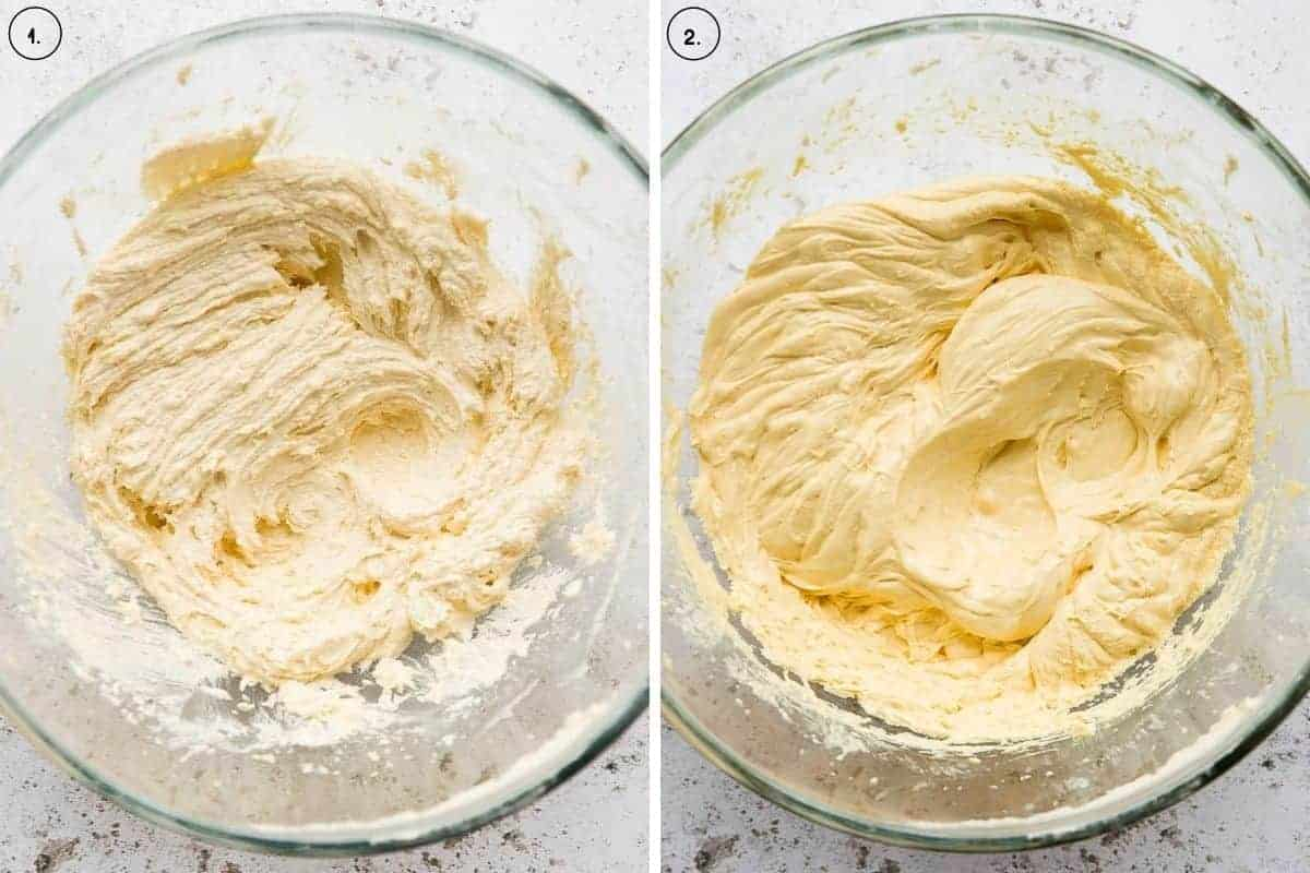 Two images side by side showing the process to make vanilla cupcake batter.