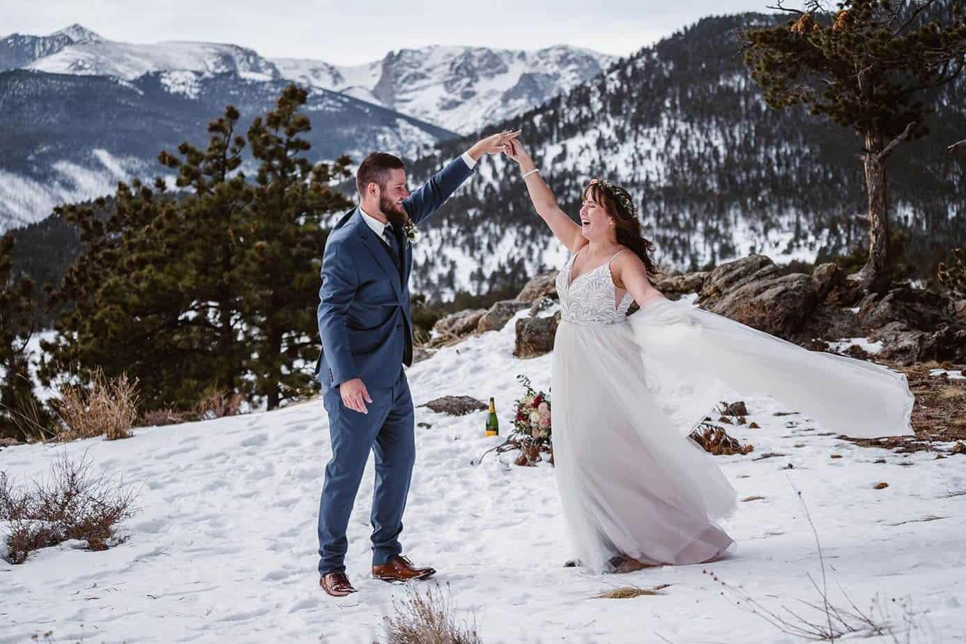 Bride and Groom Dancing Winter Elopement Guide