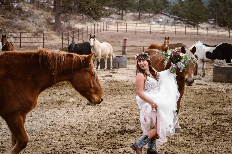 3m Curve Elopement Bride With Horses at Estes Park