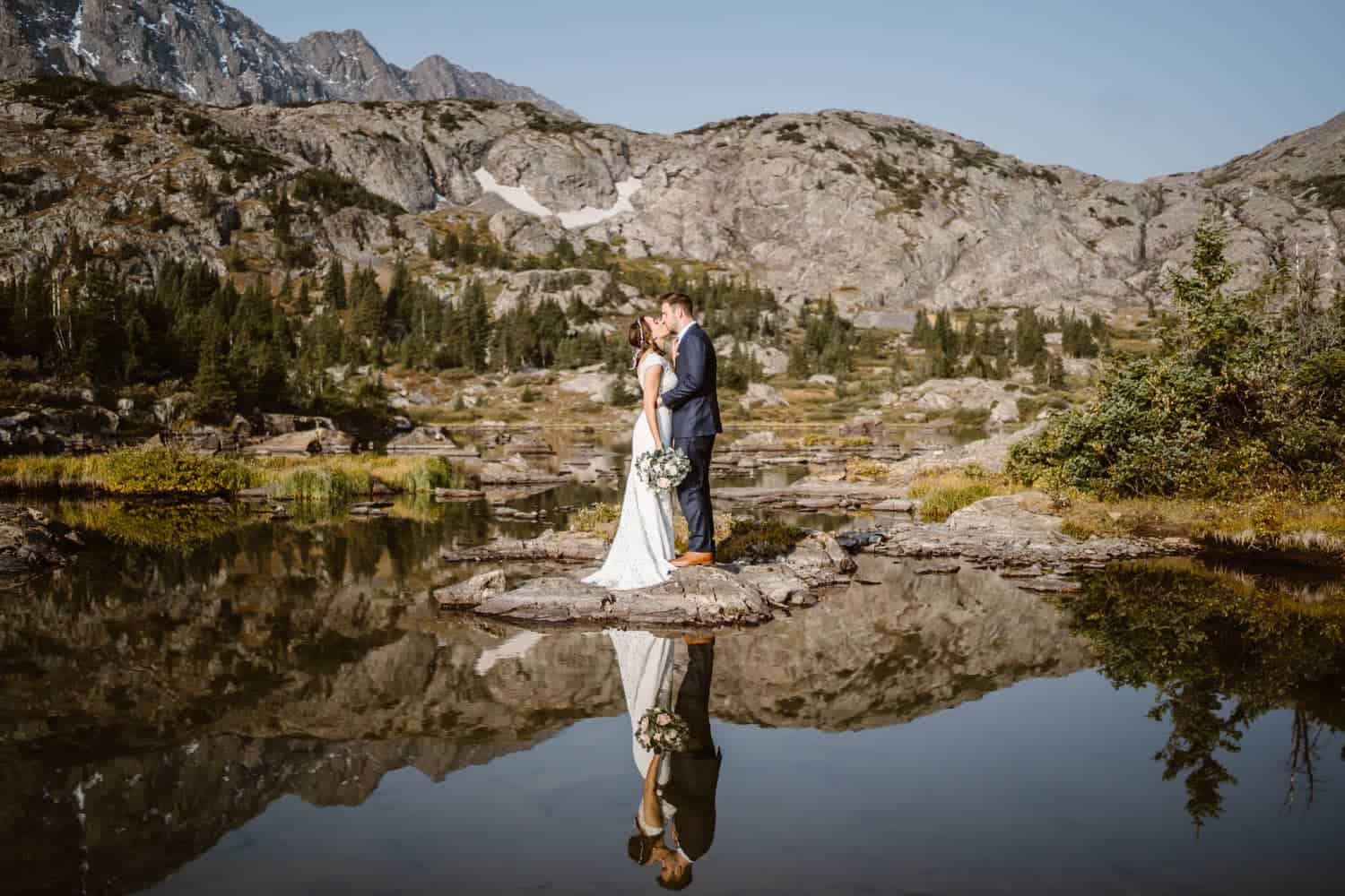 Bride and Groom Lake Reflections Colorado Mountain Elopement Packages