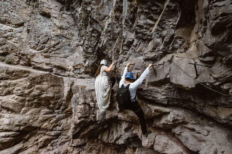 Bride and Groom Climbing Via Ferrata Elopement