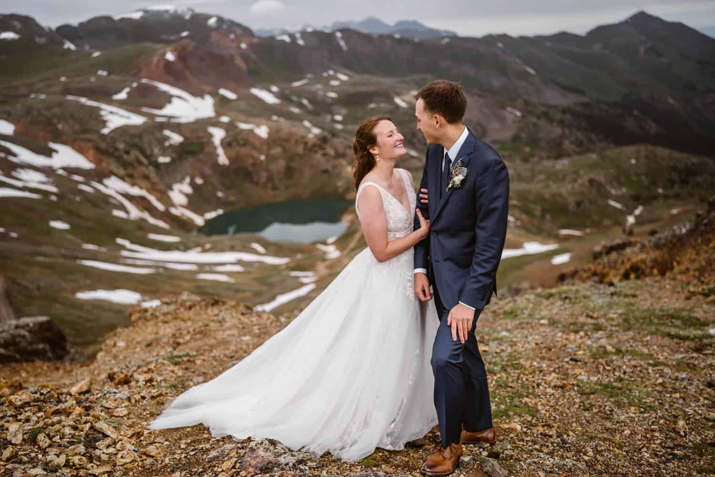 Bride and Groom Hugging Telluride Elopement Packages