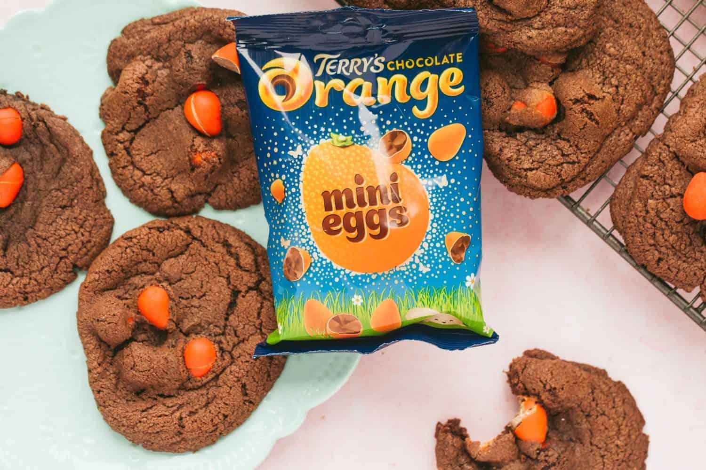 Chocolate cookies with Terry's choc orange eggs.