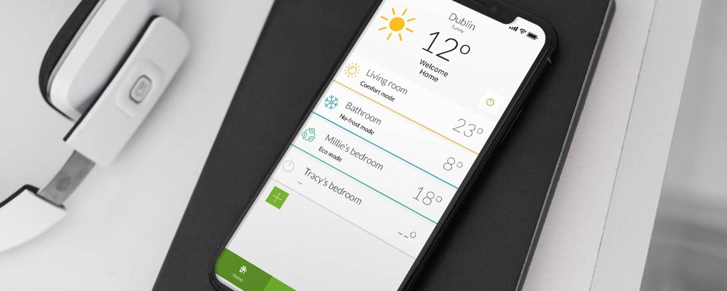 Rointe Connect LITE app on smartphone showing all heating installations in a home