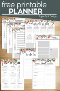 Floral planner pages including calenars, to do list, daily and weekly planners with text overlay- free printable planner
