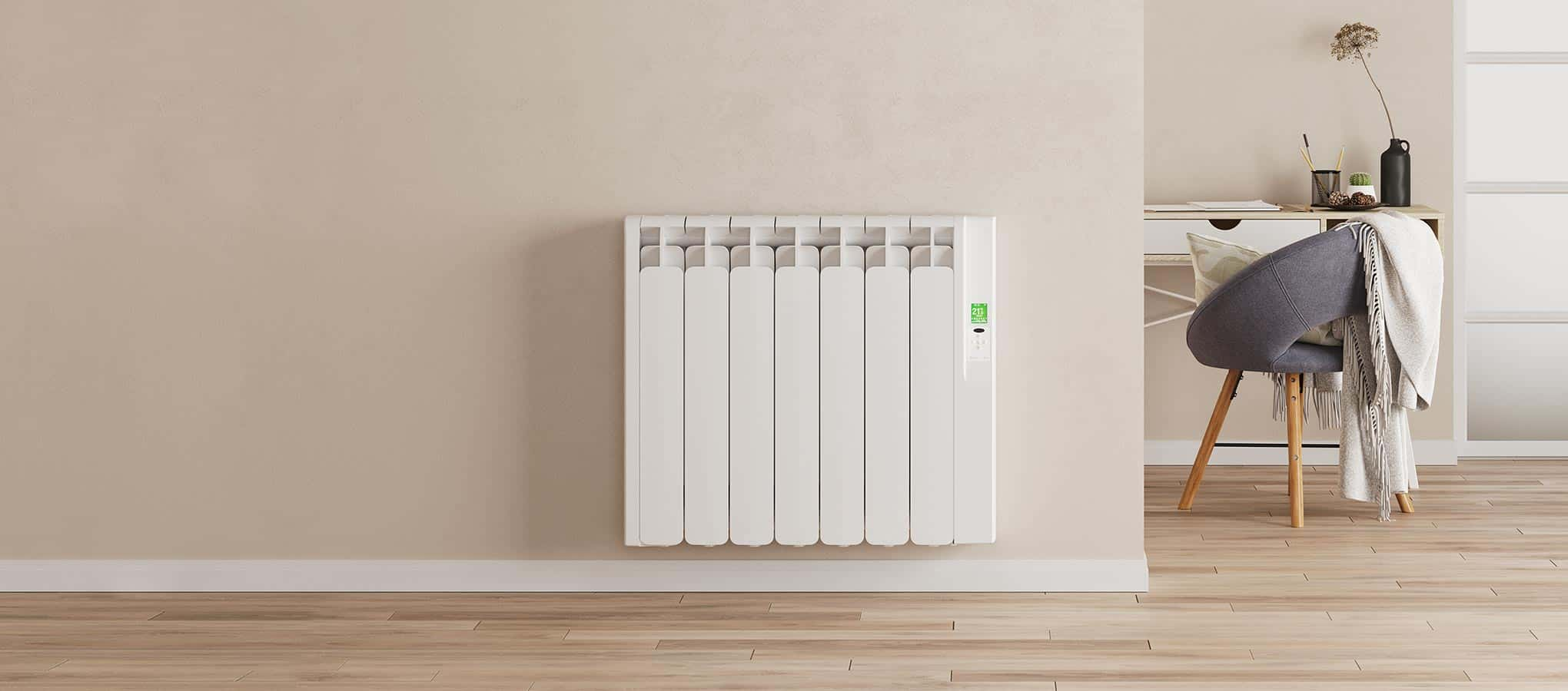 Rointe Kyros smart timer electric radiator in white wall mounted in living room