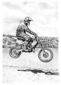 Pencil Drawing of Trials Bike