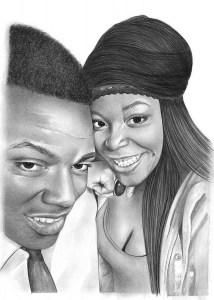 Pencil Portrait of Young Couple