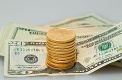 Goldmünzen, Dollar-Scheine