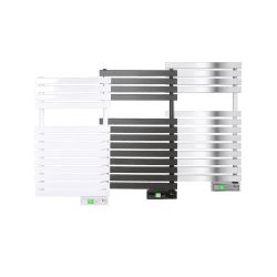 Rointe D Series 300 W wifi steel oil filled towel rail in white, chrome and black