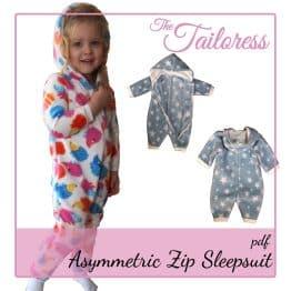 The Tailoress PDF Sewing Patterns - 0-14 YRS - Asymmetric Sleepsuit PDF Pattern
