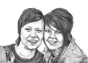 Pencil Portrait of Friends