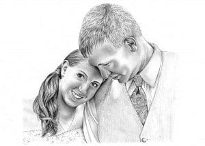 Pencil Drawing of Wedding Portrait