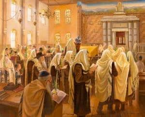 Jewish Painting in synagogue praying