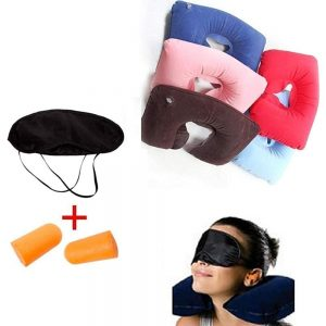 Inflatable Neck Air Cushion Pillow, Eye Mask & 2 Ear Plugs