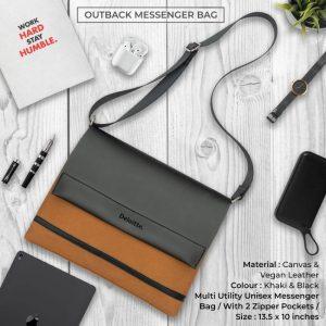 Outback Messenger Bag - Khaki & Black