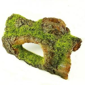 Half Log Aquarium Ornament with Moss