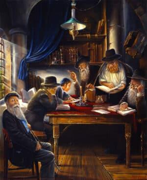 reading torah painting
