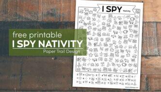 Christmas Nativity themed I spy activity with text overlay- free printable I spy Nativity