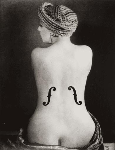 Dadaism example: Man Ray, Ingres's Violin, 1924.