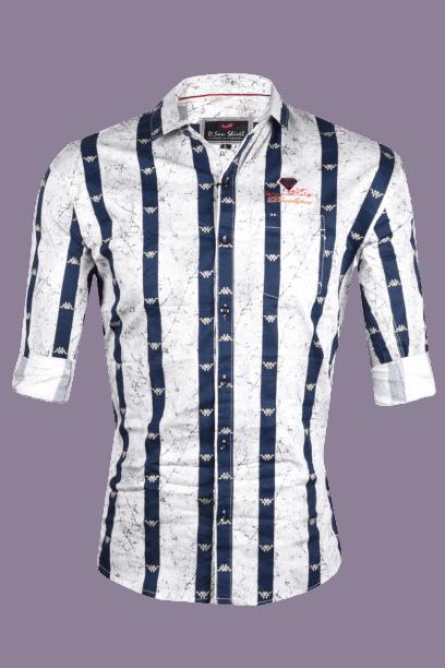 Lycra Printed Shirts for Men's -M White