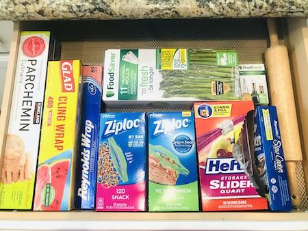 Organize Kitchen Drawers - Plastic Wrap Station