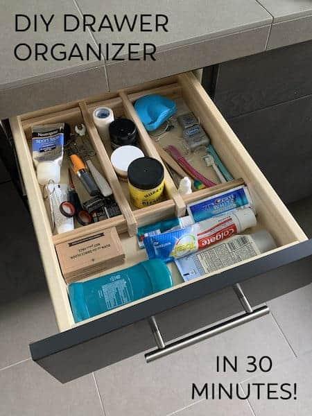 Organize home office supplies: DIY drawer organizer