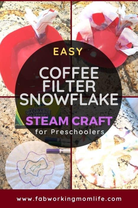 Easy Coffee Filter Snowflake STEAM Craft for Preschool