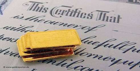 Gold, Papier-Gold, Goldforderung (Foto: Goldreporter)