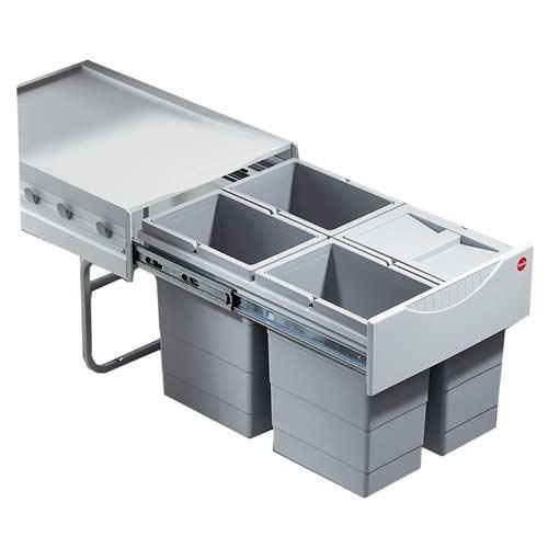Hailo-Space-saving-Tandem-4x8.5Litre ausziehbarer Mülleimer