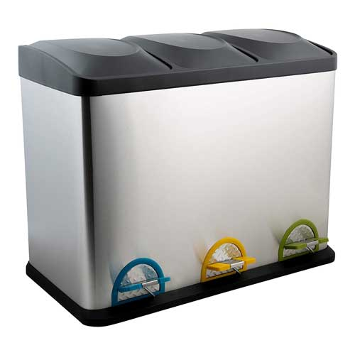 Organize-It-All-3-Compartment-Step-On-Trash-Can