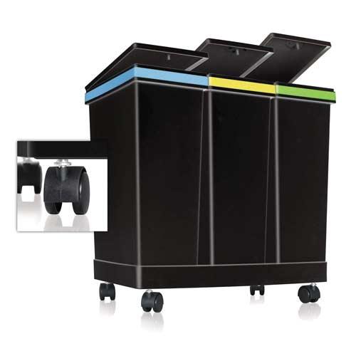 smarty-Ecobin-Mülleimer-auf-Rollen-Mülleimer 3-Fach