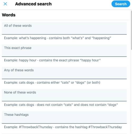 search old tweets twitter advanced search fields