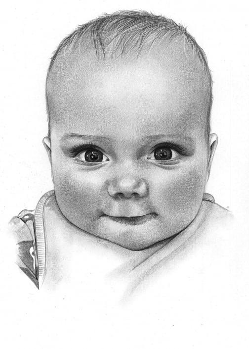 Pencil Sketch of Baby Boy