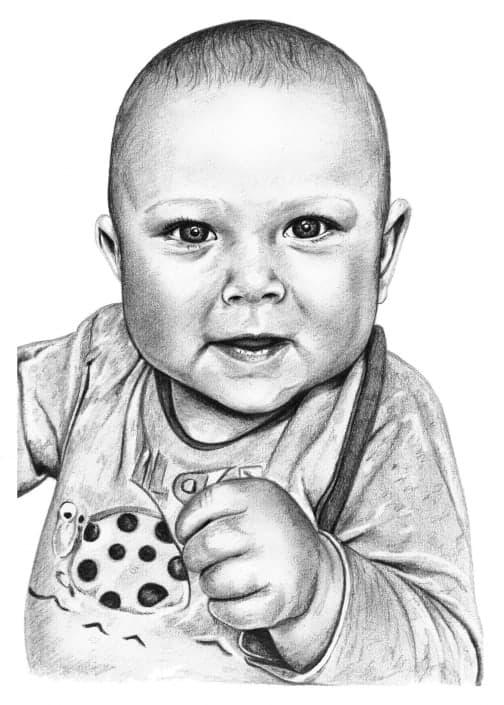 Portrait Drawing of Baby Boy