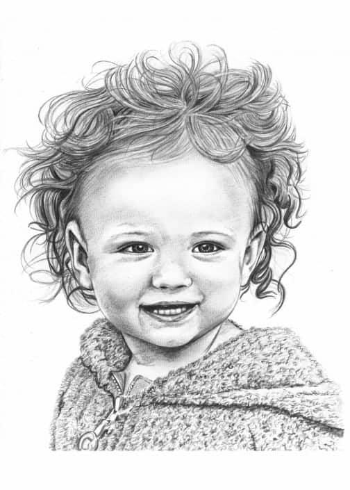 Pencil Portrait of Baby Girl