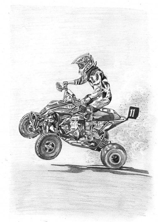 Pencil Drawing of Quad Bike