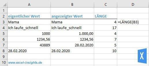 Excel Insights: Excel LÄNGE Funktion Beispiel für die Bestimmung der Anzahl der Zeichen verschiedener Werte