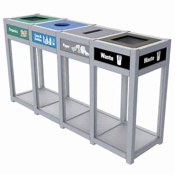 Clearcycle-Quad-Stream-Recycling-Bin-Station
