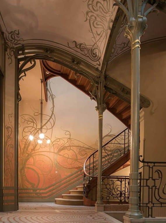 Staircase of the Tassel House, designed by Victor Horta, considered an Art Nouveau Gesamtkunstwerk.