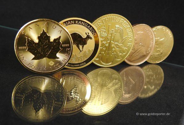Goldmünzen, Maple Leaf, Känguru, Wiener Philharmoniker, Krügerrand, American Eagle
