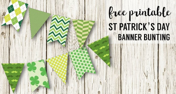 DIY St. Patrick's Day Decorations Printable Banner. Easy Irish St. Patty's Day decor idea. Cute shamrock green bunting free printable. #papertraildesign #stpattysday #stpatricks #stpatricksday