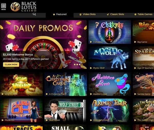 Black Lotus Casino 100 Free Bonus No Deposit Code Sign Up Now