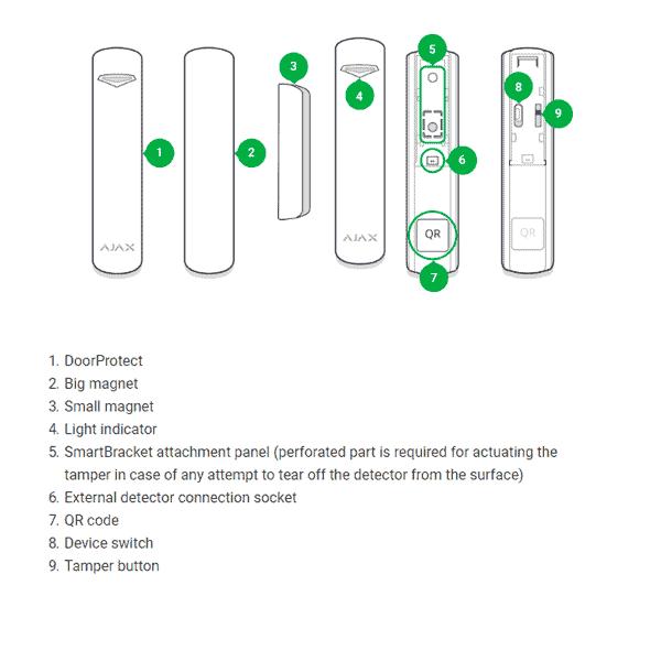 AJAX Deurcontact Plus met tilt en trilsensor (Zwart)