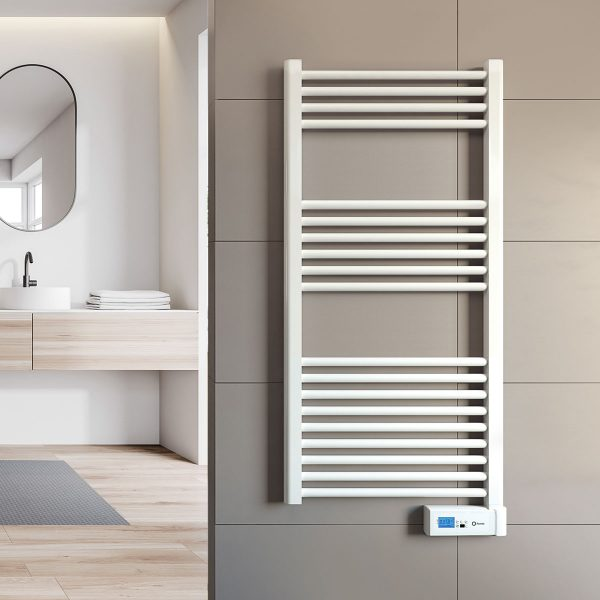 Rointe Elba Digital electric towel rail with 24/7 programming and LCD screen in chrome wall mounted in bathroom