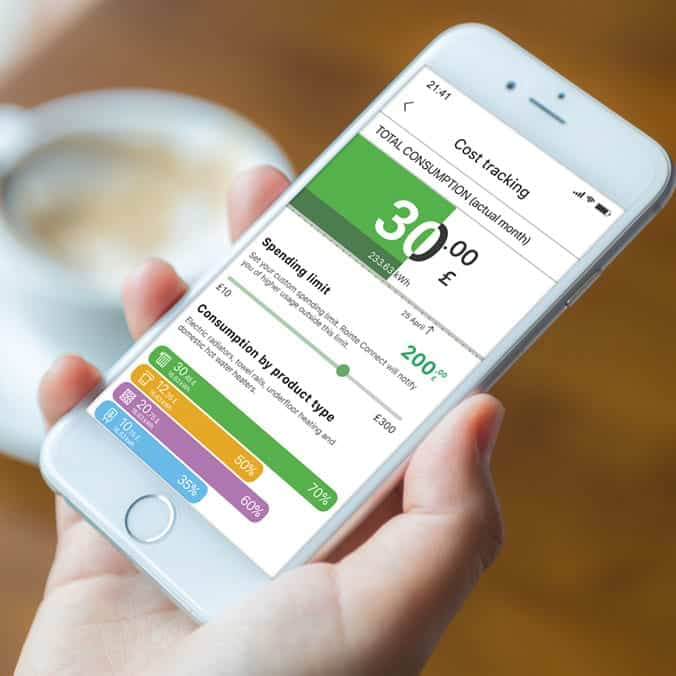 Rointe Connect app on smartphone showing heating cost and consumption statistics