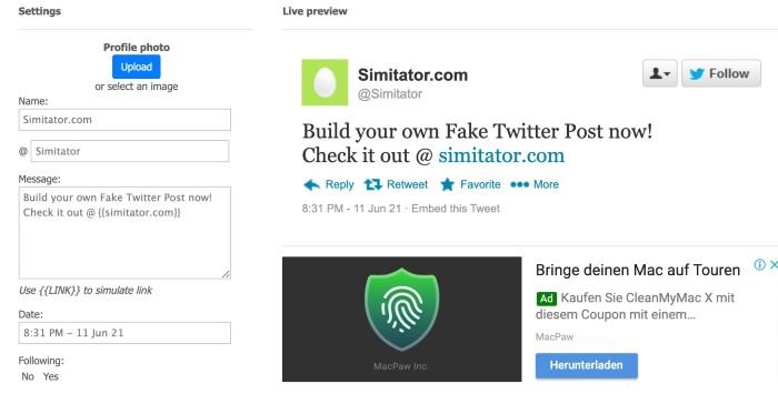 Fake Twitter Tweet   Simitator.com